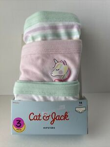 Cat & Jack Girls Rainbow Unicorn Solid Striped Print Hipsters 3 Pack Size 16