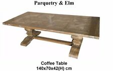 Rustic Recycled Elm Wood French Provincial Pedestal coffee Table 140cm x 70cm