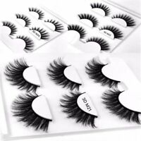 3 Pairs Set Women 3D Handmade Long Lasting Makeup Natural Mink False Eyelashes