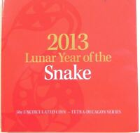 2013 YEAR OF THE SNAKE 50C UNC TETRA-DECAGON in Card Folder