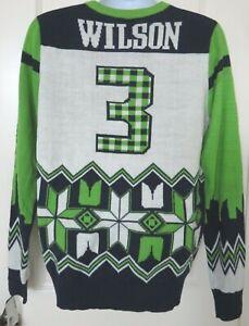 Seattle Seahawks Russell Wilson Men's Sweater NFL Team Apparel Size Medium NWT
