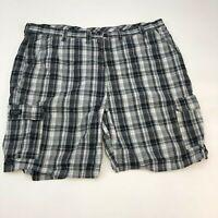 Wrangler Cargo Shorts Mens 46 Black Gray White Flat Front Cotton Plaid Zip Fly