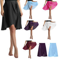 Adult Women Ballet Dance Skirt Gymnastics Skate Leotard Wrap Scarf Dress Costume