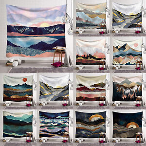 Wall Hanging Landscape Sunset Tree Mountain Tapestry Throw Blanket Mat Decors
