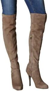 Karen Millen Toupe Leather Over Knee Long High Occasion Boots UK 5 38 FZ255