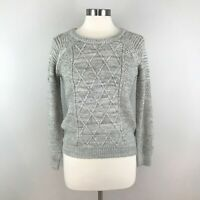 h. one Gray Cable Knit Crew Neck Wool Blend Long Sleeve Sweater Sz XS