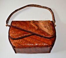 VTG Genuine Leather Crocodile Baby Alligator Hand Bag Purse