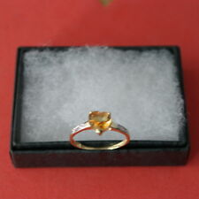 BEAUTIFUL 9CT YELLOW GOLD HEART NATURAL CITRINE&DIAMOND RING SIZE O IN GIFT BOX