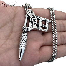 MENDEL Mens Stainless Steel Hip Hop Rapper Biker Tattoo Machine Pendant Necklace