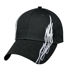 Mens Baseball Ball Hat Black Silver Fire Flame Curved Brim Brushed Cotton Cap