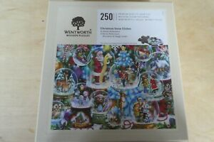 WENTWORTH WOODEN JIGSAW PUZZLE 250 PIECES - CHRISTMASD SNOW GLOBES