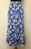 New ExStore Ladies Blue Floral Linen Long Maxi Skirt Size 8 10 12 14 16 18 20 22