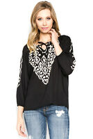 A and A Embroidered Evening Wear Casual Black Blouse Top Long Sleeve White