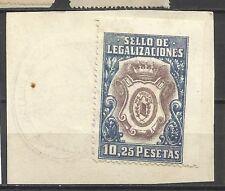 2606-sello antiguo fiscal legalizaciones 10,25 pesetas sobre fragmento original
