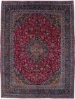Hand-Knotted Vintage Large 10X13 Classic Floral Fuchsia Rose Oriental Rug Carpet