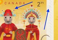 2020 = EFO = ERROR = RED THREAD & GREY DONUT = RAT LUNAR NEW YEAR MNH CANADA