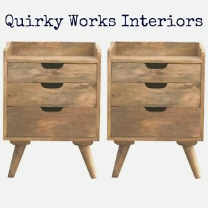 Pair Bedside Cabinets Bedside Tables Mid Century Scandi Nordic Style Oakish