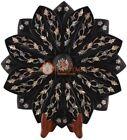 "12"" Black Fruit Arrangement Bowl Mop Inlay Floral Pietradura Art Veterans Gifts"