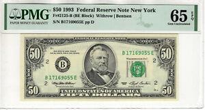 1993 $50 FEDERAL RESERVE NOTE NEW YORK FR.2125-B PMG GEM UNC 65 EPQ (055E)