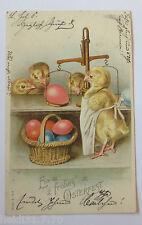 """""""Ostern, Küken, Waage, Korb, Ostereier"""" 1905, Prägekarte ♥ (30762)"""