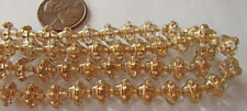 25 Czech Glass 8mm Gold-Etched Crystal Clear Saturn Saucer Beads