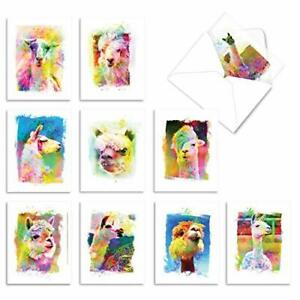 - 10 Watercolor Blank Note Cards with Envelopes (4 x 5.12 Funky Rainbow Llamas