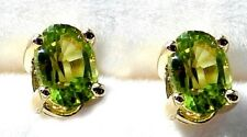 Natural Peridot Earrings /6x4 mm Faceted Ovals/ Post/ Nut 925 SS
