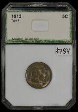 1913 Type-1 5c Indian Head Buffalo Nickel - UNC - PCI Green Label - Lot#Z784