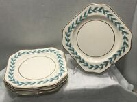 """6 Johnson Brothers Pareek Bermuda Blue Leaf 7 1/2"""" Square Salad Plates"""