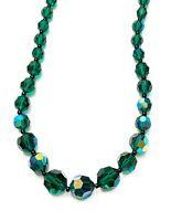 schöne irisierende Glas Kette - Aurora Borealis - Grünton - Verlauf - Vintage