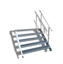 5-stufige Stahltreppe einseitig. Geländer Breite 100cm / Geschosshöhe 70-105cm