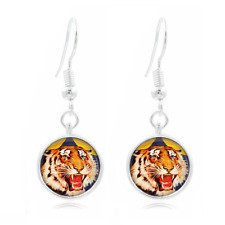 tiger glass Frea Earrings Art Photo Tibet silver Earring Jewelry #106
