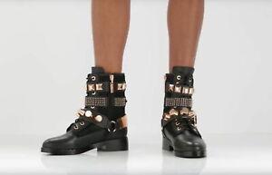IVY KIRZHNER Size 9 BOWERY Black Studded Moto Boots 18 kt Rose Gold sz 9 euc