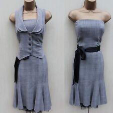 Monsoon Houndstooth Bandeau Tailored Formal Office Evening Dress Waistcoat UK-14