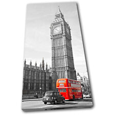 London Big Ben Landmarks Red Bus  City SINGLE CANVAS WALL ART Picture Print