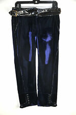 Roberto Cavalli  Capri's Blue Velvet Patent Leather Waist  Trim Size 38
