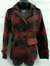 WOMENS RED PLAID COAT SZ XS NEW! PEACOAT FAUX WOOL FREE SHIPPING