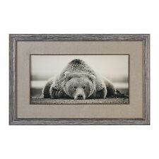 Rustic Grizzly Bear Wall Art Print | Luxe Lodge Hunting Burlap