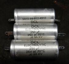 3 PCS 250uF / 25v DCL ELECTROLYTIC CAPACITORS. NOS. EX MOD