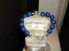 "Lapis & Sterling Silver Beaded Bracelet Men'S Handmade 8 1/2"" 12 Mm Blue"