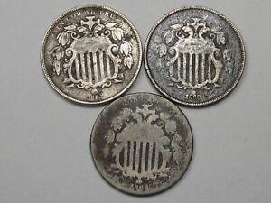 3 US Shield Nickels: 1867, 1868 & 1869. #18