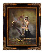 Original Painting - LADY WITH HARP Antonio Rico - HUGE 123x154cm Framed STUNNING