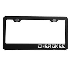 Matte Black License Plate Frame Silver CHEROKEE Laser Etched Metal Screw Cap