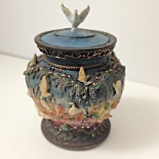 """Vintage Vase Style Birds & Flowers Votive Candle Holder With Bird On Lid 4"""" Tall"""