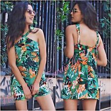 SALE Zara Green Multi Tropical Floral Playsuit Size XS UK 6 US 2 Blogger ❤