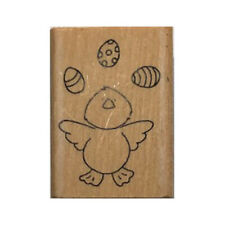 JUGGLING EGGS Wood Mounted Stamp Amuse Elzybells Cute Chick Easter Card Making