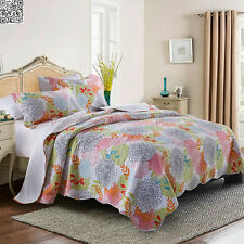 Floral Checked BedSpread Set Queen/King Size Patchwork Quilted Coverlet 3Pcs New