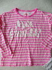 girls CREW CUTS 3/4 SLEEVE SHIRT neon pink stripe COTTON casual FRENCH SIZE 10