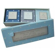 Baby Boy's First Keepsake Boxes Set of 3 by East of India Triple Box Set In Blue