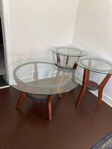 3 Piece Round Living Room Table Set-Glass & Walnut Wood Legs